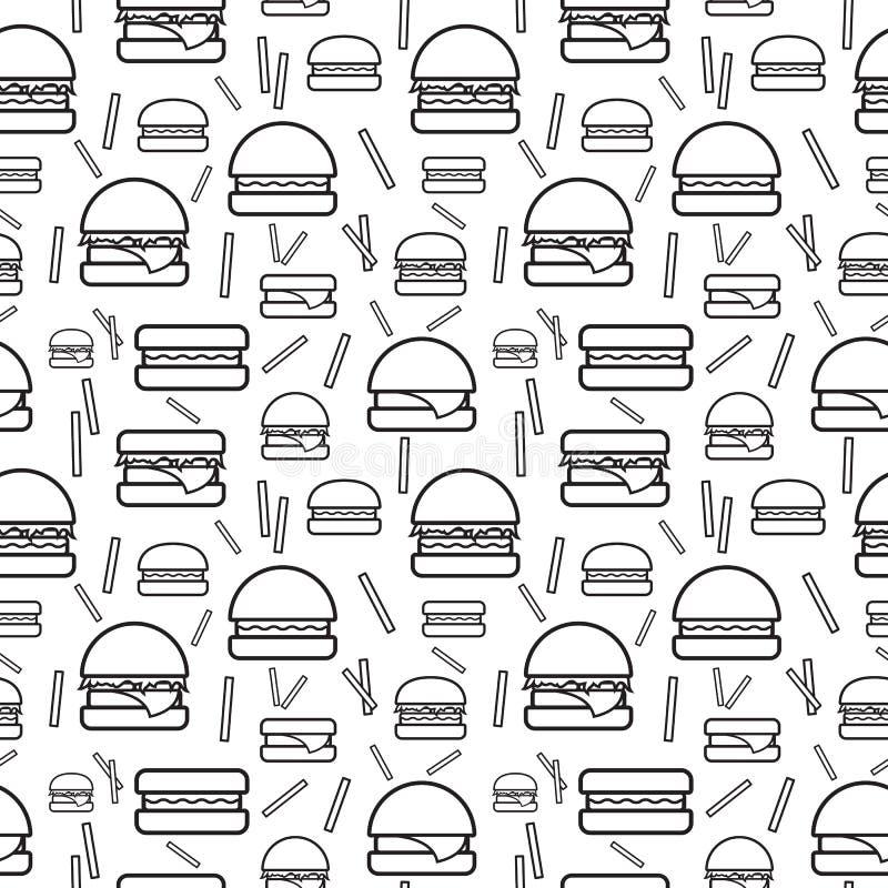 Hamburgueres e fritadas monocromáticos sem emenda do teste padrão ilustração royalty free
