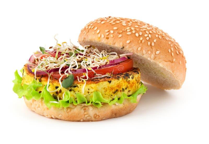 Hamburguesa abierta del vegano aislada en blanco fotografía de archivo