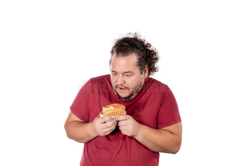 Hamburguesa antropófaga gorda divertida Los alimentos de preparación rápida, unhealty comen Exceso de peso y problemas de salud fotos de archivo libres de regalías