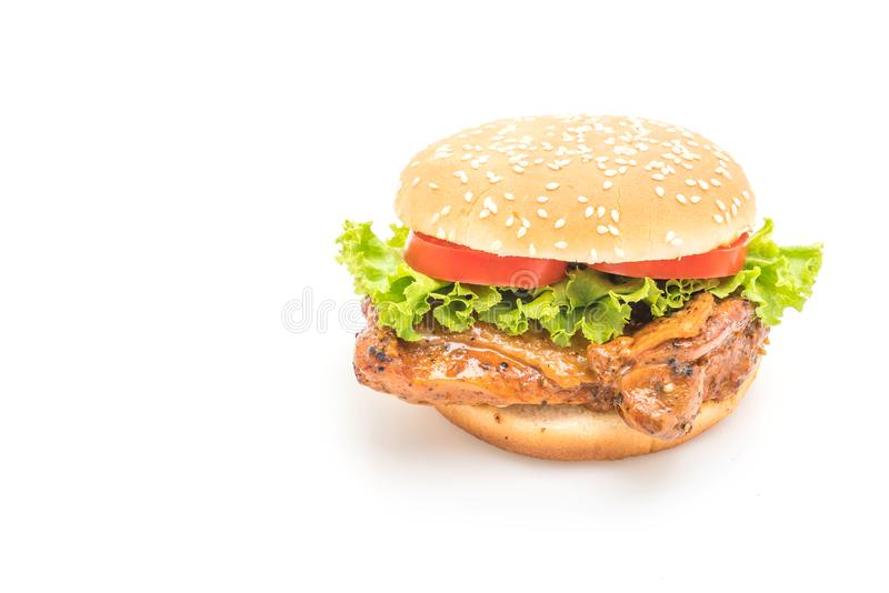Hamburguesa asada a la parilla del pollo imagenes de archivo