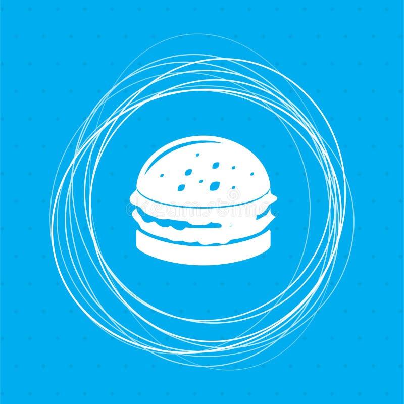 Hamburguesa, bocadillo, icono de la hamburguesa en un fondo azul con los círculos abstractos alrededor y el lugar para su texto libre illustration