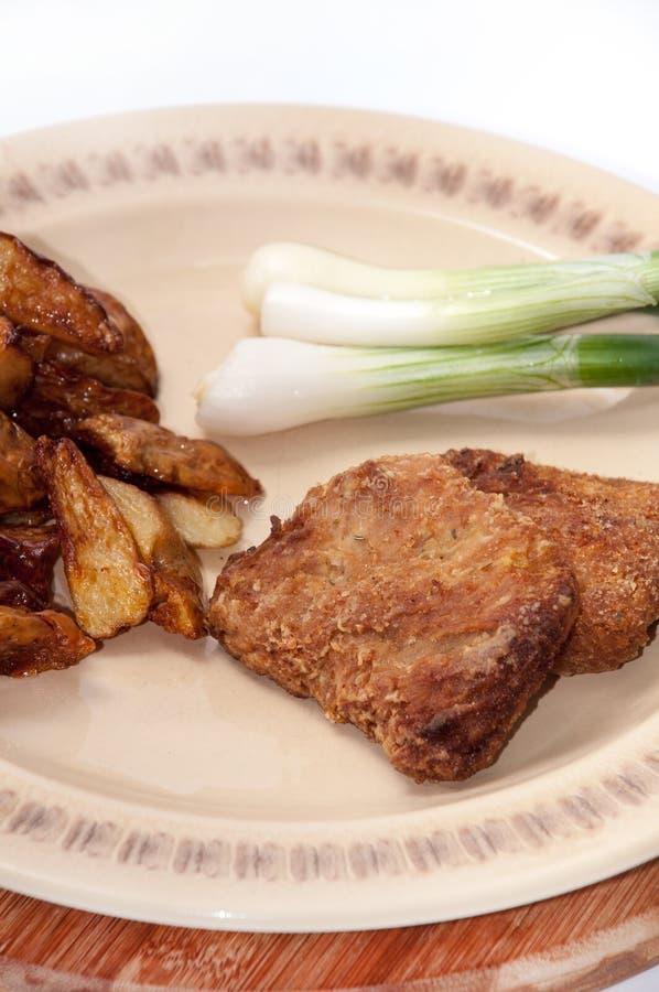 Hamburguesa, cebollas y patatas fritas de la soja en una placa imagen de archivo libre de regalías