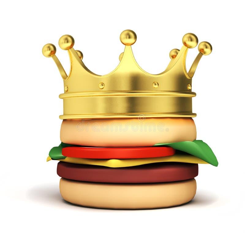 Hamburguesa con la corona ilustración del vector