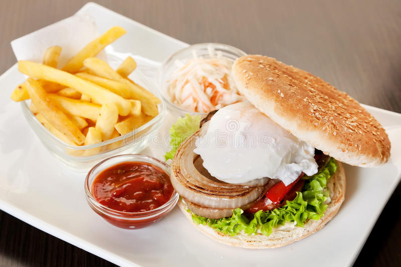 Hamburguesa con la patata frita fotografía de archivo libre de regalías