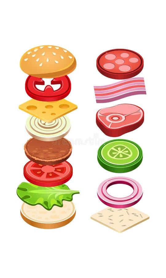 Hamburguesa con los ingredientes del vuelo Bocado delicioso para el almuerzo Alimentos de preparación rápida sabrosos Cocinar tem libre illustration