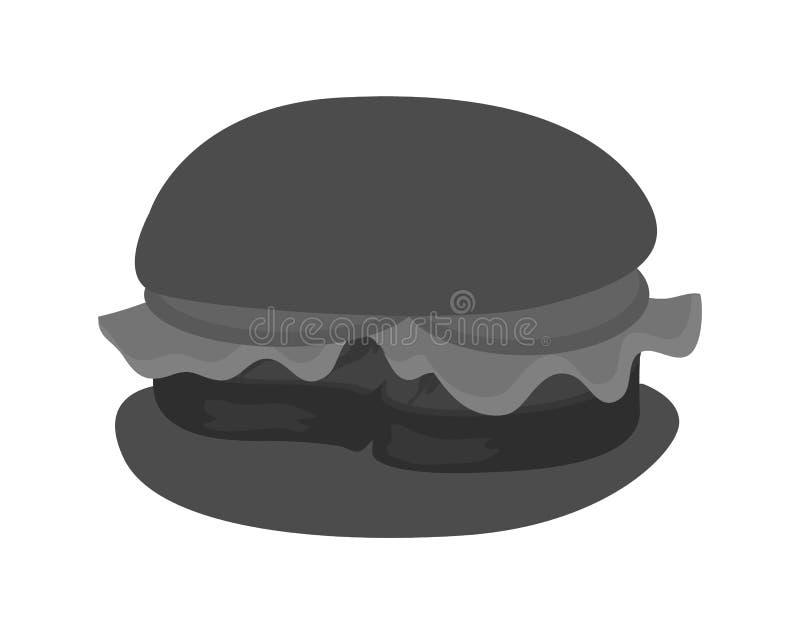 Hamburguesa con los tomates y la hoja frescos de la lechuga ilustración del vector