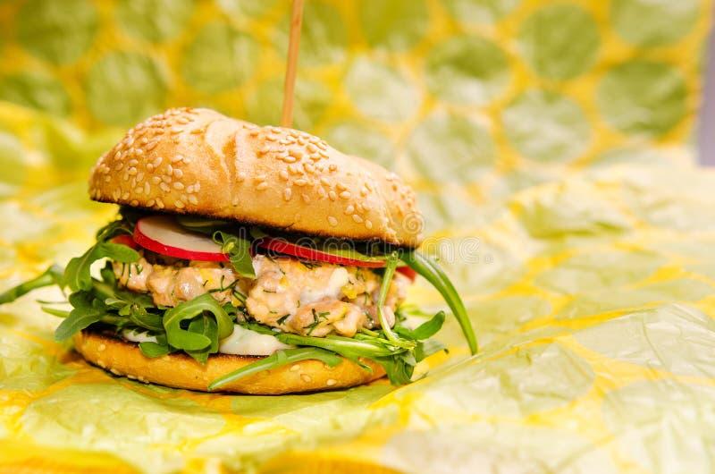 Hamburguesa de color salmón imágenes de archivo libres de regalías