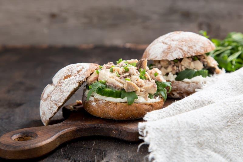 Hamburguesa de la comida con el atún, hierbas, pepinos, requesón, cebollas imagenes de archivo