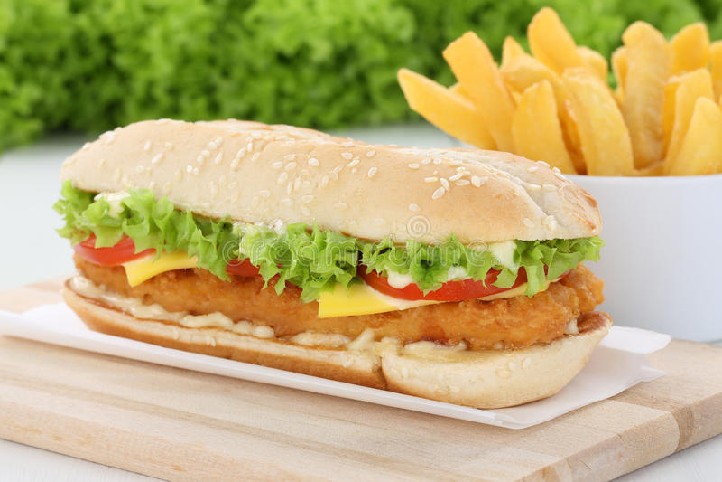 Hamburguesa de la hamburguesa del pollo de Chickenburger con las fritadas imagen de archivo