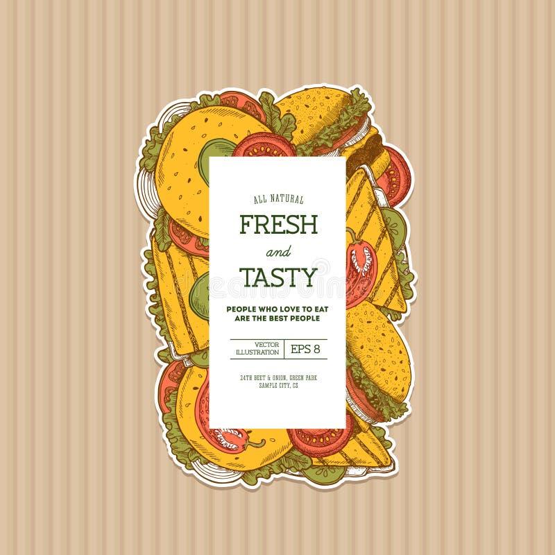 Hamburguesa del verano en plantilla vertical del diseño de la cartulina Colección del bocado Plantilla del menú Alimentos de prep ilustración del vector