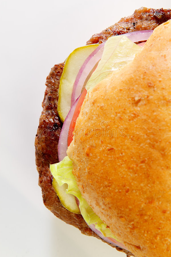 Hamburguesa en el bollo del trigo imagen de archivo
