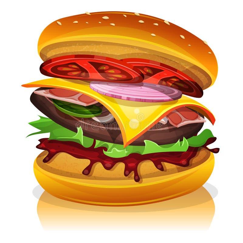 Hamburguesa grande del tocino stock de ilustración