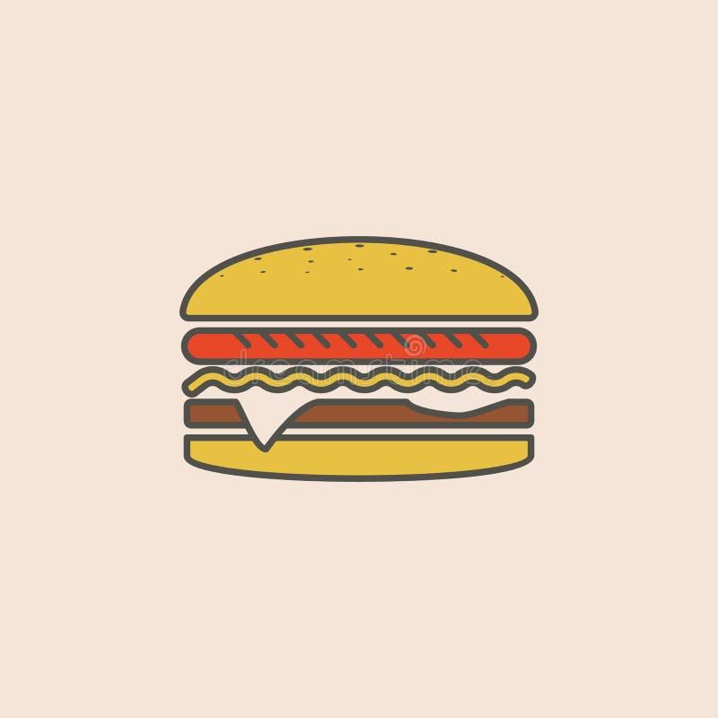 Hamburguesa grande en icono clásico del estilo Elemento del icono de los alimentos de preparación rápida para los apps móviles de stock de ilustración