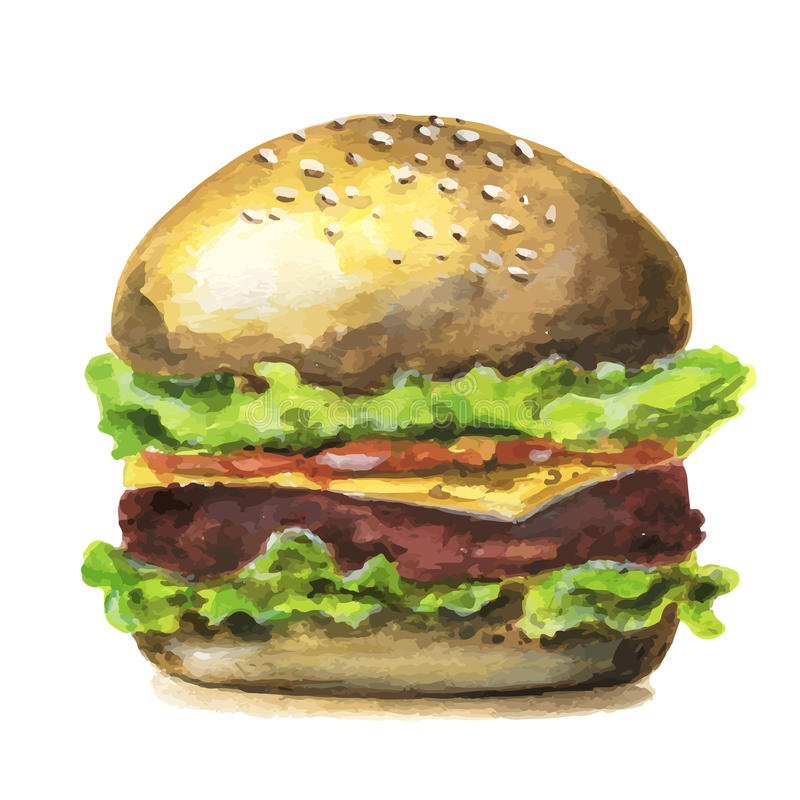Hamburguesa grande sabrosa dibujada mano del vector de la acuarela ilustración del vector