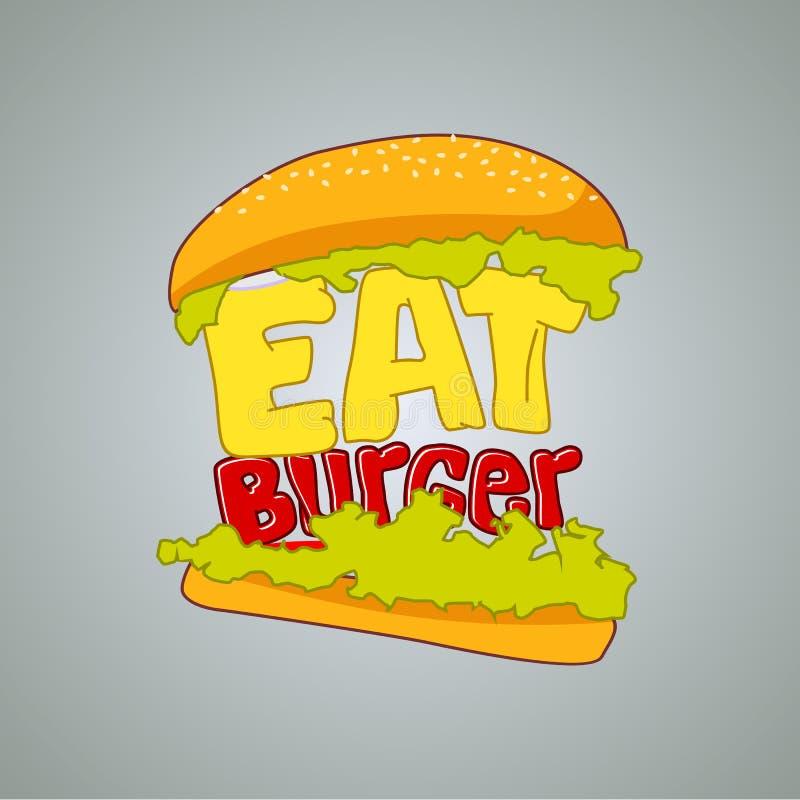 Hamburguesa, muestra de los alimentos de preparación rápida, icono o plantilla del logotipo Símbolo de la hamburguesa La fuente d libre illustration