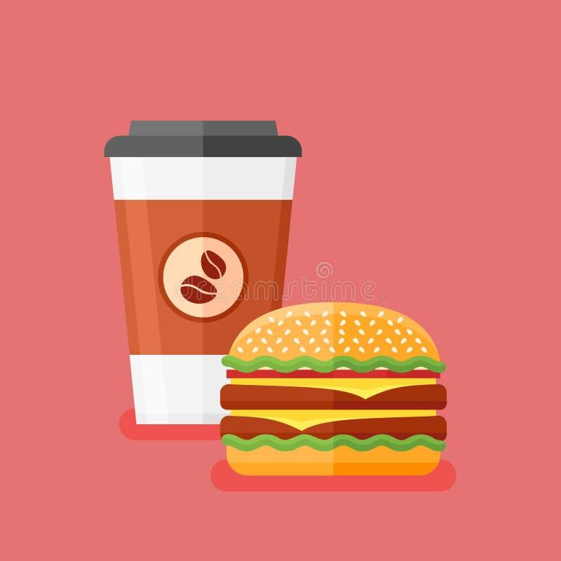 Hamburguesa para llevar y doble del café Alimentos de preparación rápida Ilustración del vector ilustración del vector