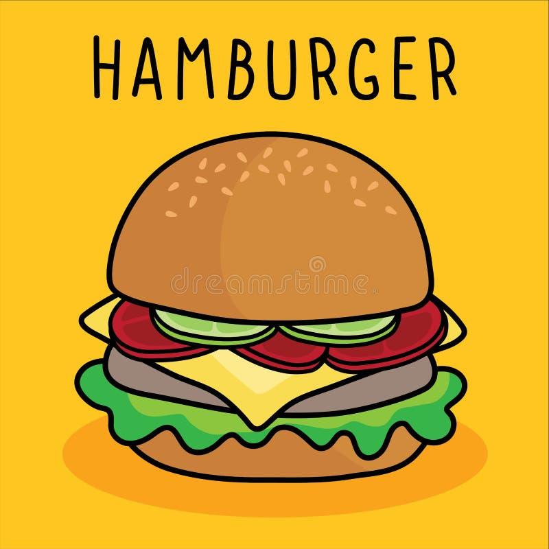 Hamburguesa, queso y verdura de la historieta del vector en fondo amarillo stock de ilustración