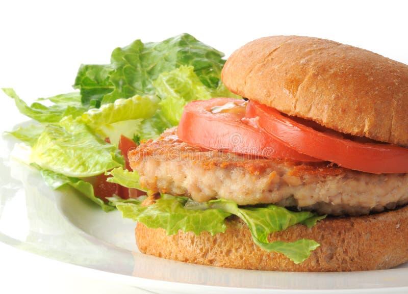 Hamburguesa sana del pollo con la ensalada imagen de archivo libre de regalías