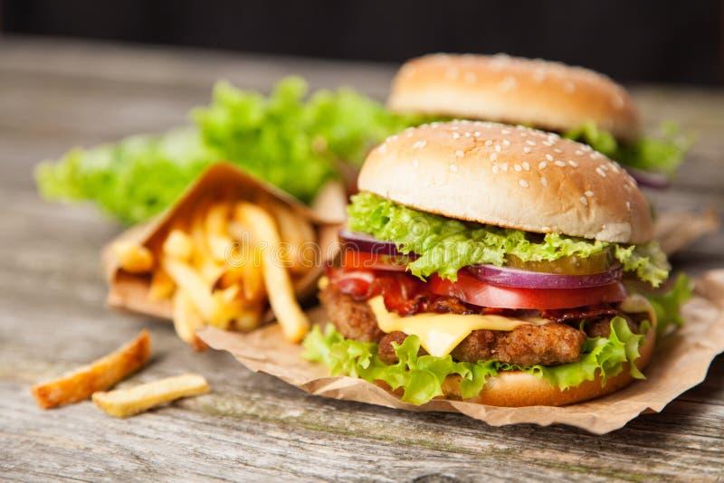 Hamburguesa y fritadas deliciosas foto de archivo