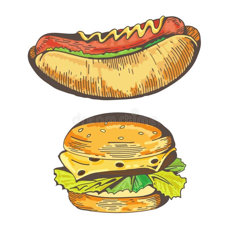 Hamburguesa y perrito caliente stock de ilustración