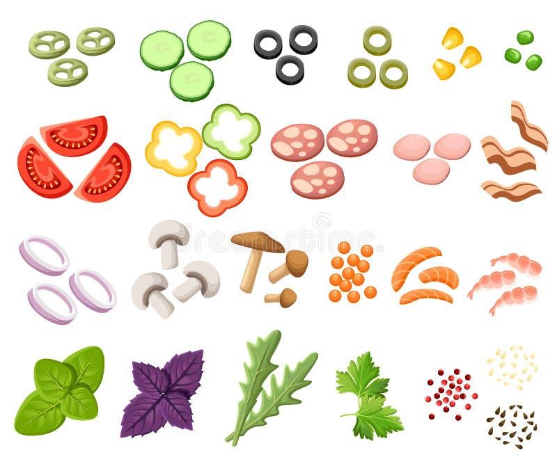 Hamburguesas fijadas Los bollos de los ingredientes, queso, tocino, tomate, cebolla, lechuga, pepinos, cebollas de la salmuera, f ilustración del vector