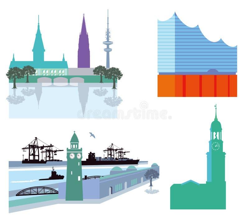 Hamburscy punkty zwrotni royalty ilustracja