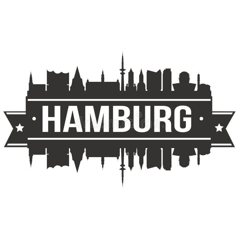 Hamburskiej Niemcy Europa ikony sztuki projekta linii horyzontu miasta Euro Wektorowej Płaskiej sylwetki Editable szablon royalty ilustracja