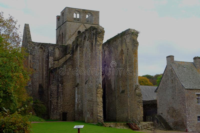 Ruins of the medieval Hambye Abbey royalty free stock photos