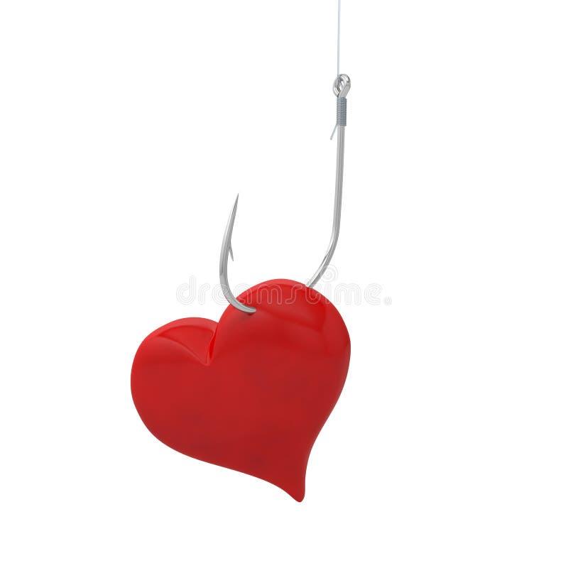 Hameçon de pêche au crochet de coeur illustration stock