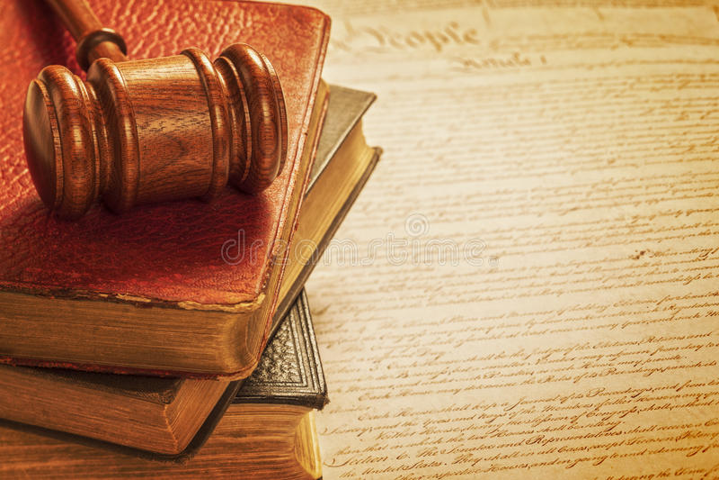 Hamer en Grondwets Amerikaanse Rechtvaardigheid Concept stock foto's