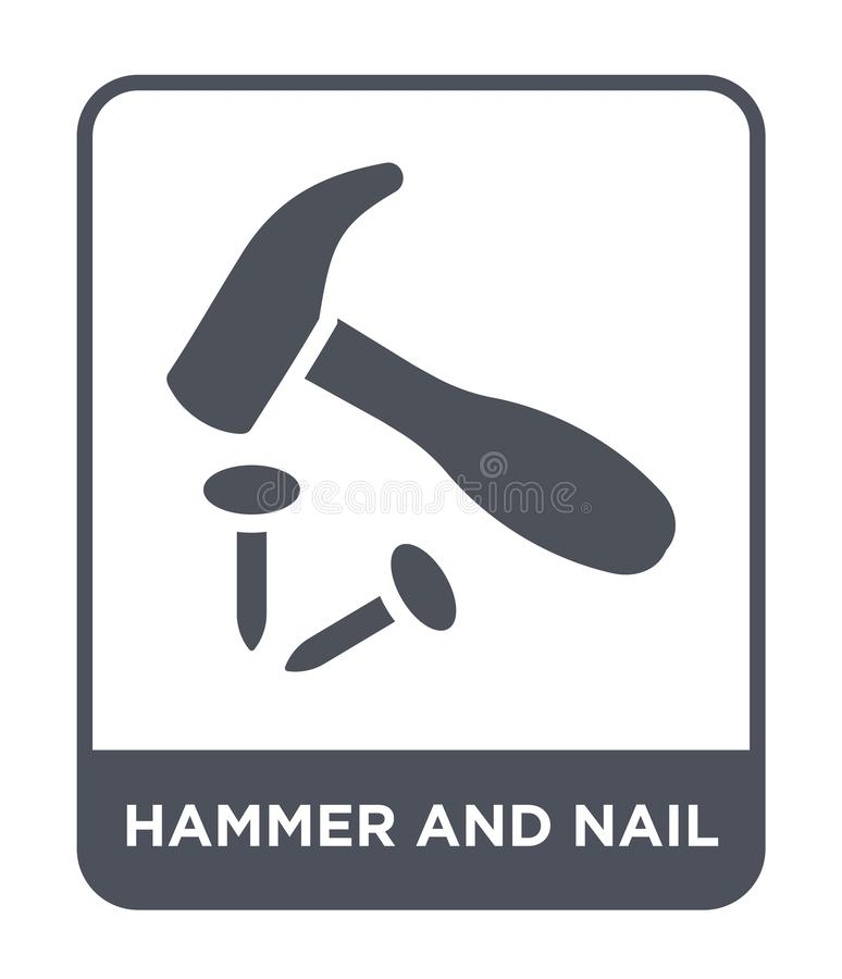 hamer en spijkerpictogram in in ontwerpstijl Hamer en spijkerpictogram op witte achtergrond wordt geïsoleerd die hamer en spijker vector illustratie