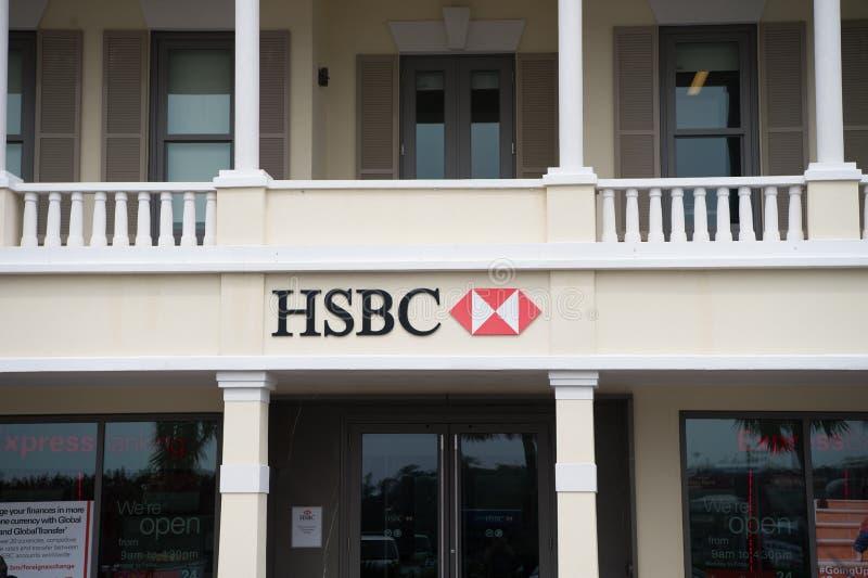 Hamilton, Bermuda - March, 20, 2016: HSBC bank building. Office entrance into HSBC bank. HSBC bank business and finance stock photo