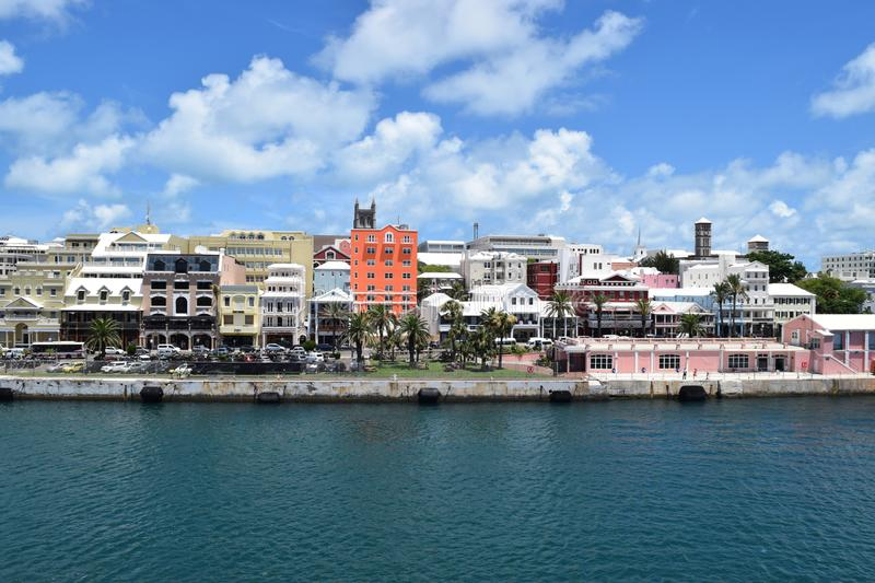 Hamilton, Bermuda by the sea. Photograph of Hamilton, Bermuda as we were approaching it from the sea. Photo was taken in 2015 stock photography
