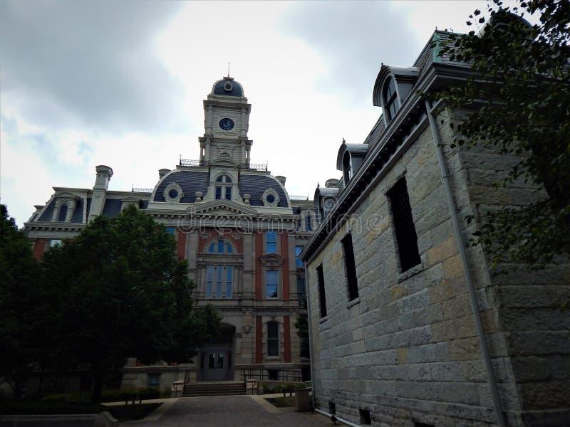 Hamilton County Indiana Courthouse en Jail Noblesville royalty-vrije stock afbeeldingen