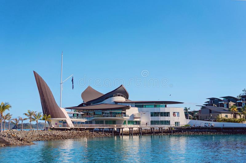 HAMILTON ISLAND, WHITSUNDAY ISLANDS - AUG 24 2018: The Hamilton Island Yacht Club, designed by Walter Barda, is reminiscent of the royalty free stock image