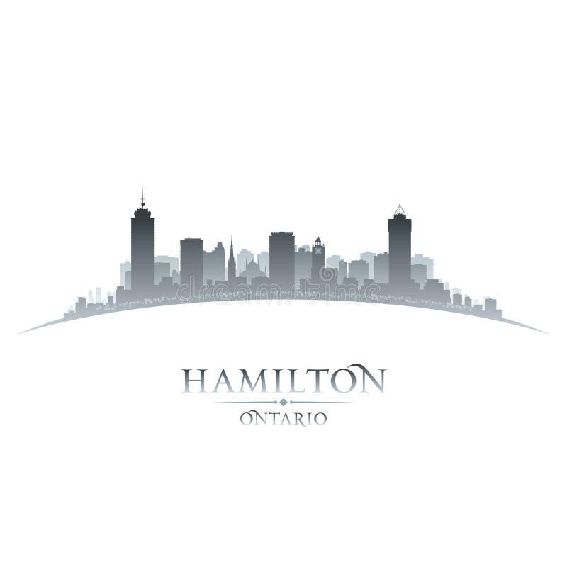 Hamilton Ontario Canada-het silhouet witte achtergrond van de stadshorizon royalty-vrije illustratie