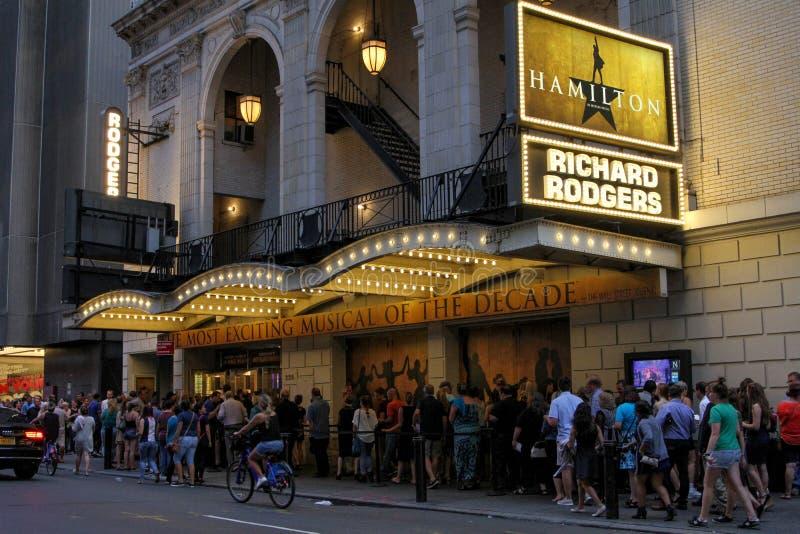 Hamilton op Broadway in de Stad van New York royalty-vrije stock foto's