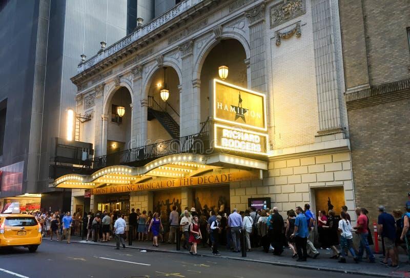 Hamilton på Richard Rogers Theater, New York City, NY arkivbild