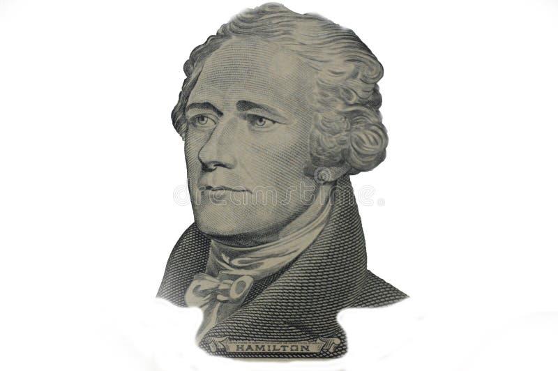 Hamilton-Präsident auf zehn US-Dollar Banknote vektor abbildung