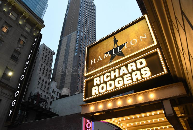 Hamilton sign at the Richard Rogers Theater in Manhattan. Sign for the smash Broadway hit at the Richard Rogers theater just off Times Square in New York City on stock images