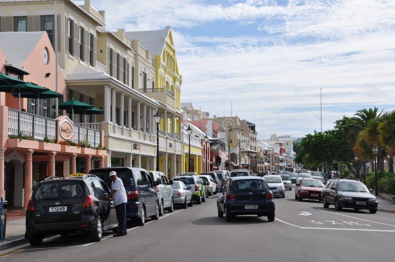 Hamilton van de binnenstad in de Bermudas stock afbeeldingen