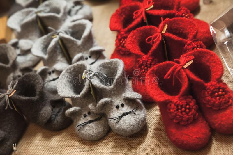 Handmade felt boots are on the counter royalty free stock images