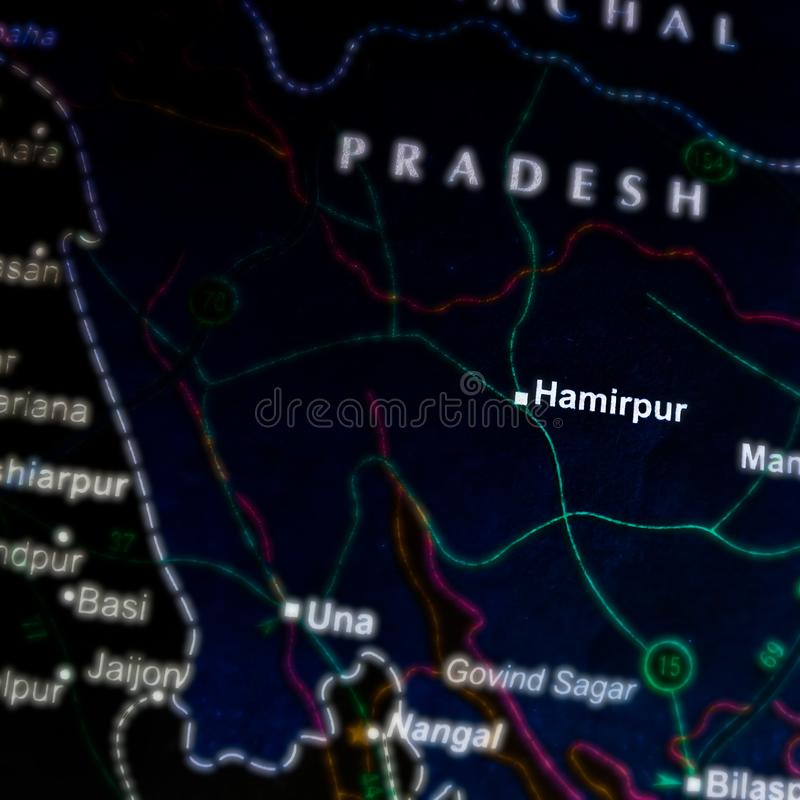 Hamirpur city name displayed on geographic map in India. Location, kutukshetra, place, displaying, geographical, yamunanagar, delhi, background, pushkar stock photos
