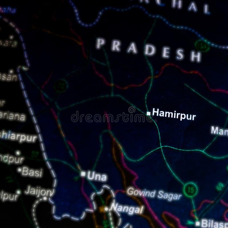 hamirpur-stadsnaam op geografische kaart in India stock foto's