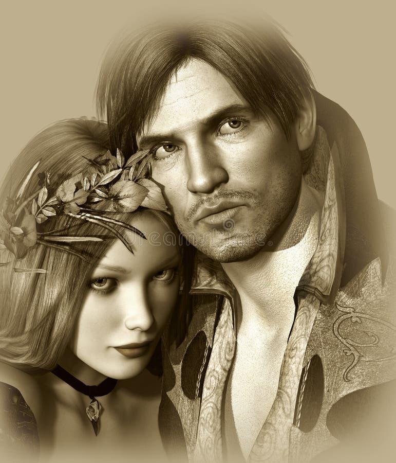 Hamlet e Ophelia ilustração royalty free