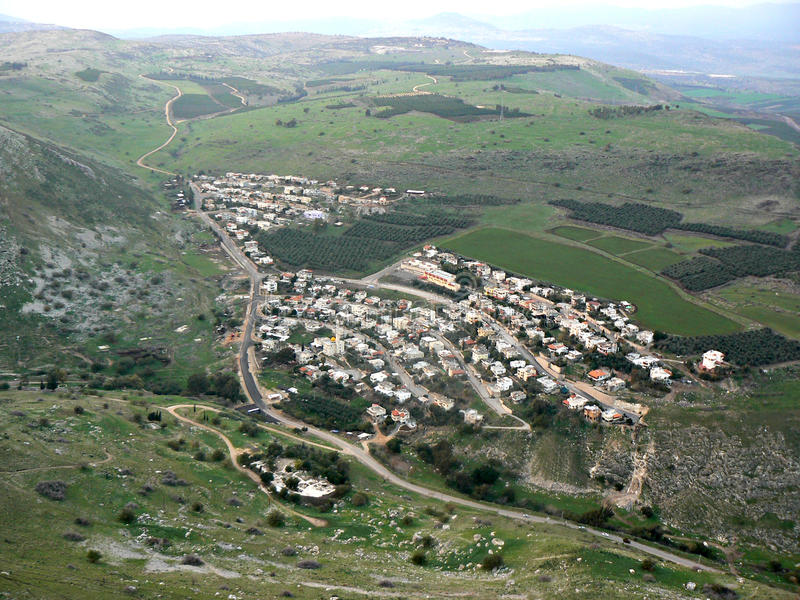 Hamlet - Galilee. Aerial view of a hamlet, forming a nucleated settlement, on the plains of Galilee, as seen from Mount Arbel, Israel stock photos
