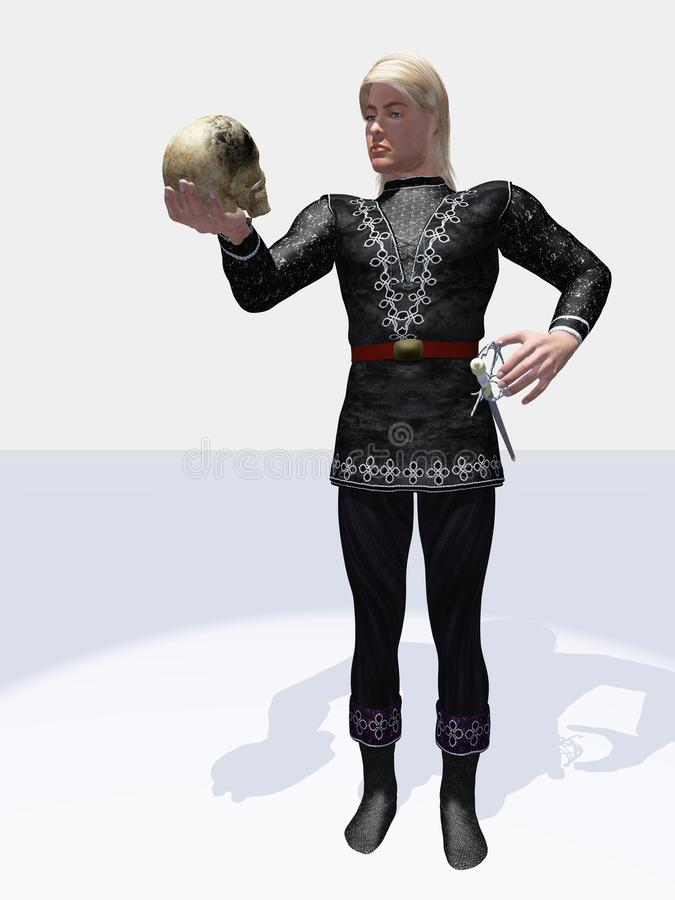 Hamlet Prince of Denmark. Alas, poor Yorick! I knew him…. Often misquoted line from Shakespeare's Hamlet – the prince contemplating the skull royalty free illustration