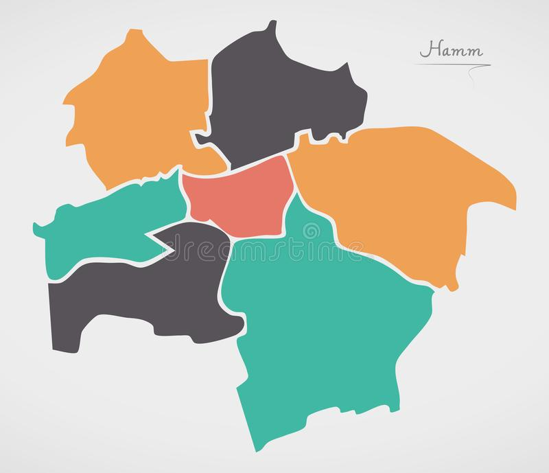 Hamm Map with boroughs and modern round shapes. Illustration vector illustration