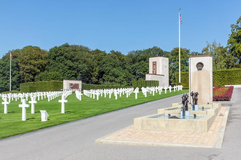 American WW2 Cemetery with memorial monument and fountain in Luxembourg royalty free stock photography