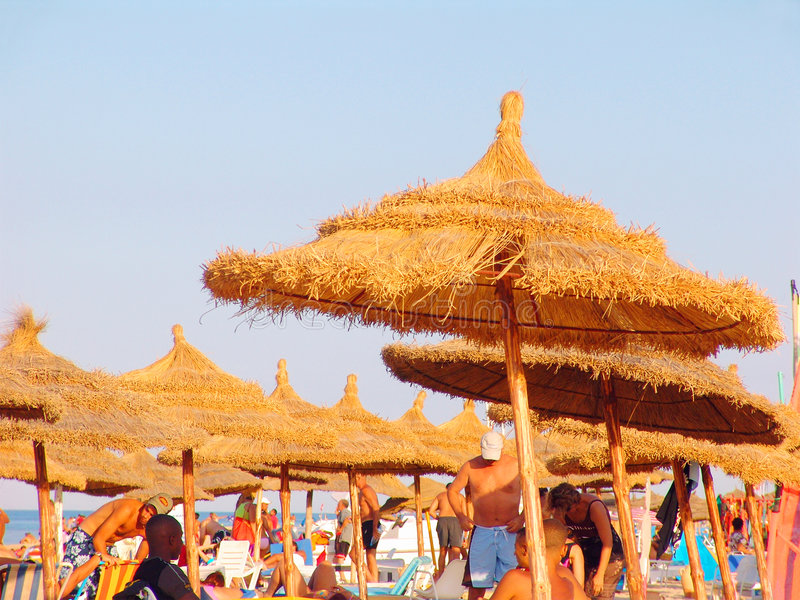 Download Tourists on Tunisian beach stock image. Image of thatch - 630291